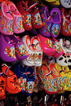 Display with Colorful Dutch Wooden Shoes by Jenny Rainbow