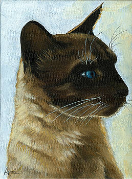 Distinctly Siamese - cat portrait oil painting by Linda Apple