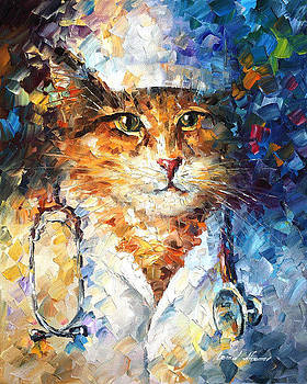 Doctor Miau - PALETTE KNIFE Oil Painting On Canvas By Leonid Afremov by Leonid Afremov