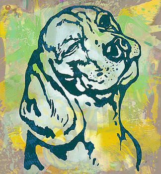 Dog pop art etching poster by Kim Wang