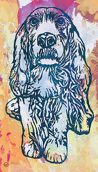 Dog pop etching art poster by Kim Wang