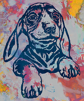 Dog pop modern etching art portrait by Kim Wang