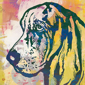 Dog pop modern etching art poster by Kim Wang