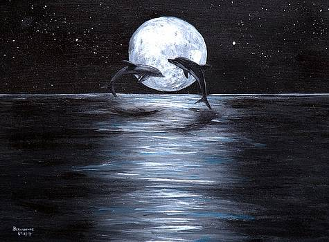 Dolphins Dancing Full Moon by Bernadette Krupa