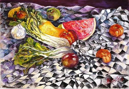 Domino cloth and veggies by Marieve Ortiz