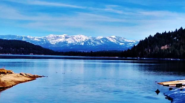 Donner Lake and High Sierra Snow-Capped Mountains by Peggy Leyva Conley