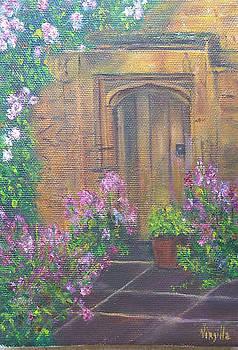 Door Paintings - Cottage Door by Virgilla Lammons