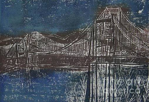 Double Golden Gate Bridge Blue and Brown Dry Point And Woodcut Print by Marina McLain
