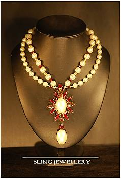Double Strand Pearl Pendant Necklace by Janine Antulov