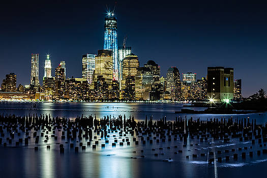 Downtown Manhattan and Old pier remains by Val Black Russian Tourchin
