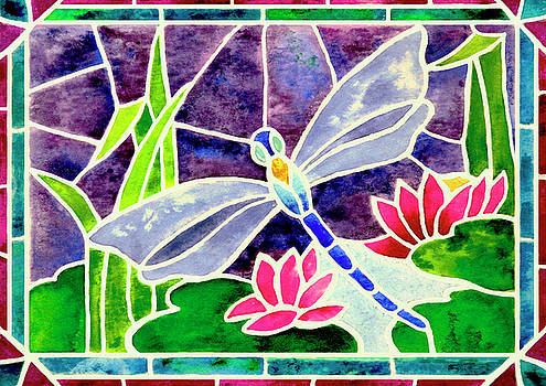 Dragonfly and Water Lily in Stained Glass by Janis Grau