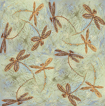 Dragonfly Dance Gold by Lyndsey Hatchwell