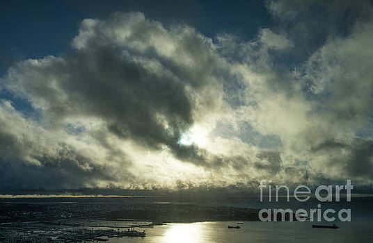 Dramatic Sunlit Clouds Above West Seattle by Mike Reid