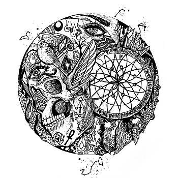 Dreamcatcher Circle Drawing No. 1 by Kenal Louis