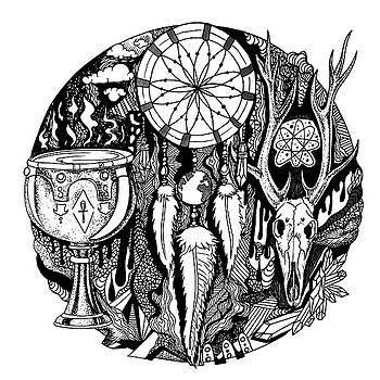 Dreamcatcher Circle Drawing No. 2 by Kenal Louis