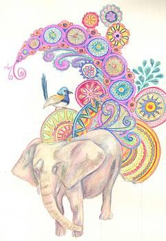 Dreamy Elephant and Bird by Cherie Sexsmith