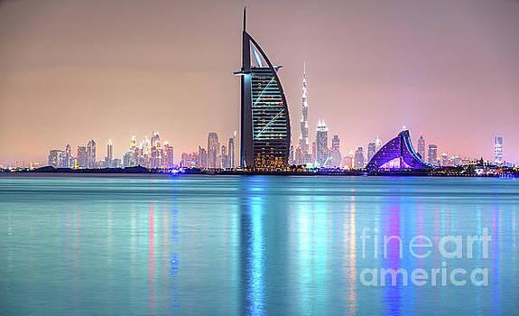 Dubai skyline at dusk - UAE by Luciano Mortula