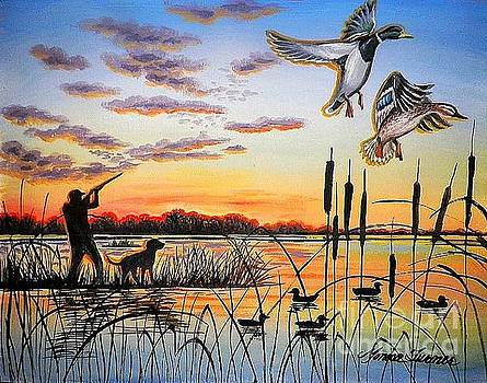 Ducks at sunset by Monica Turner
