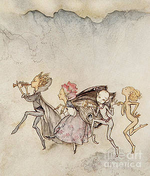 Arthur Rackham - Each one, tripping on his toe, will be here with mop and mow