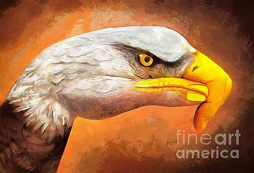 Eagle At Hand Painting by Catherine Lott