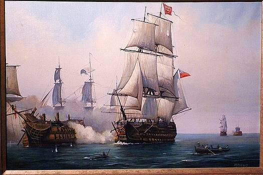 Early painting of the battle of Trafalgar. by Mike Jeffries