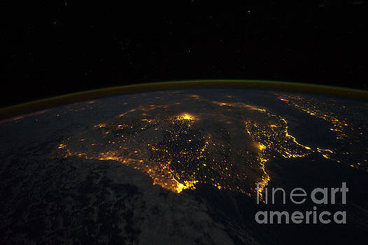 R Muirhead Art - Earth orbiting International Space Station photographed this night time scene of the Iberian Peninsu