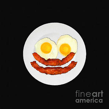 Wingsdomain Art and Photography - Eat Breakfast And Smile All Day blk