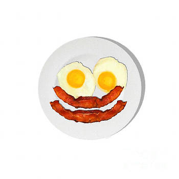 Wingsdomain Art and Photography - Eat Breakfast And Smile All Day whi