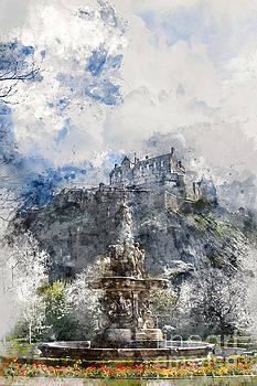 Edinburgh Castle from Princes Street Gardens, Edinburgh by Ann Garrett