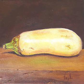 Eggplant paintings - White Eggplant - Virgilla Art by Virgilla Lammons