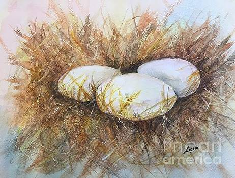 Eggs On Straw by Lucia Grilletto