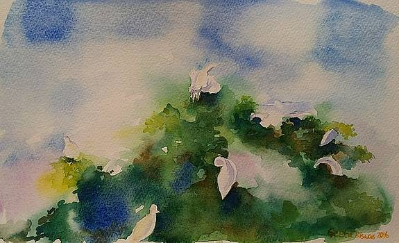 Egrets impressionistic watercolor gift by Geeta Biswas