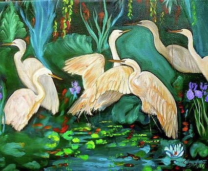 Egrets on Lotus Pond by Jenny Lee