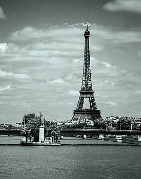 Allen Sheffield - Eiffel Tower and Lady Liberty in Paris - BW