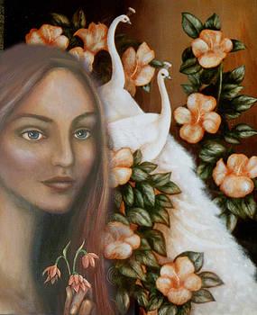 Eleanor and White Peacocks by Alice Mason