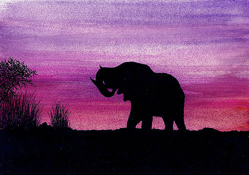 Elephant at Dusk - Silhouette by Michael Vigliotti