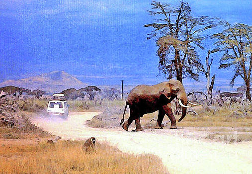 Elephant Crossing The Road by Lydia Holly