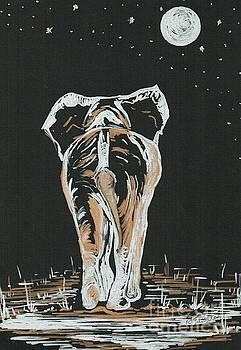 Elephant under the moonlight  by Teresa White
