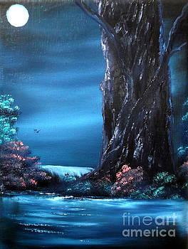 Enchanted Oak by Moonlight by Cynthia Adams
