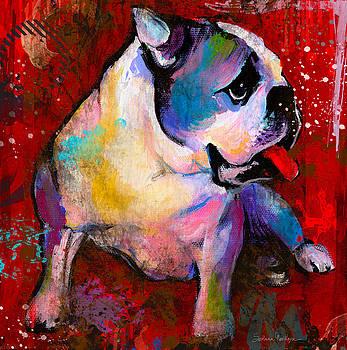 Svetlana Novikova - English American Pop Art Bulldog print painting