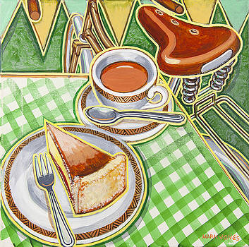 Eroica Britannia Bakewell Pudding and cup of tea on green by Mark Howard Jones