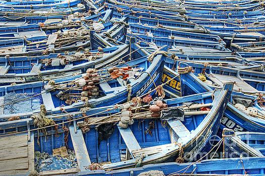 Essaouira Blue Fishing Boats by David Birchall