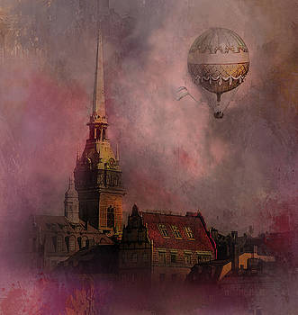Stockholm church with flying balloon by Jeff Burgess