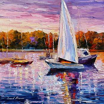 Evening Calm - PALETTE KNIFE Oil Painting On Canvas By Leonid Afremov by Leonid Afremov