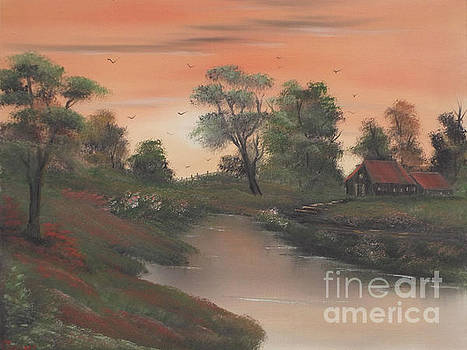 Evening draws in on the homestead by Cynthia Adams