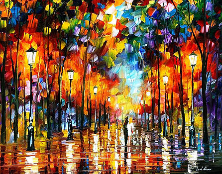 Evening Stroll 2 - PALETTE KNIFE Oil Painting On Canvas By Leonid Afremov by Leonid Afremov