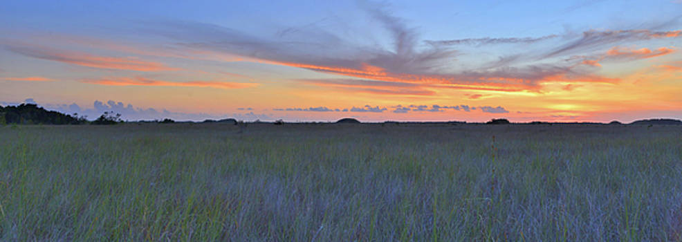 Everglades Sunset Panorama by Stephen  Vecchiotti