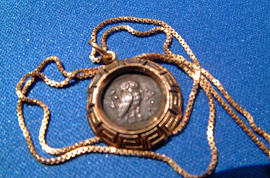Exquisite pendant made from a Greek drachm featuring Athena on obverse and owl on reverse by Vintage goldsmith