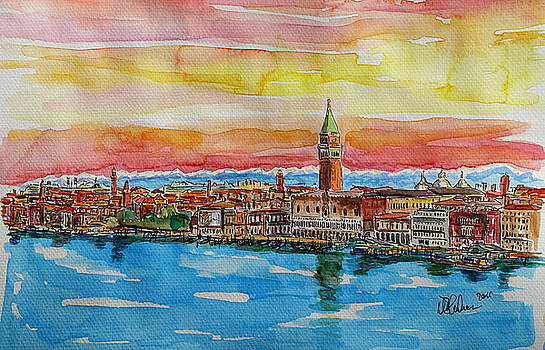Fabulous Venice Italy with Snow Covered Alps by M Bleichner