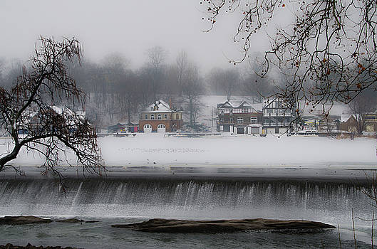 Fairmount Dam and Boathouse Row in the Snow by Bill Cannon